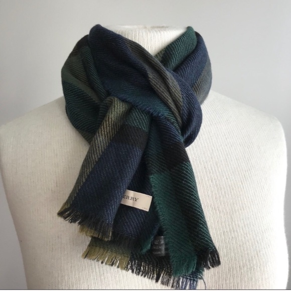 ebb3ccbf10ed1 Burberry Accessories - Burberry wool scarf plaid mega check green blue
